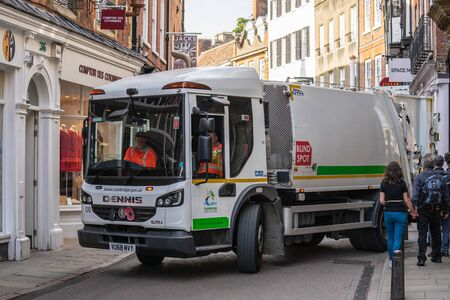 Cambridge, UK, August 1, 2019. Recyclable Waste Collection Vehicle