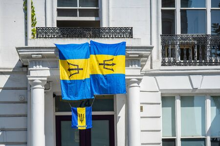 Notting hill carnival 2019, London. The national flags of Barbados.