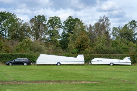 OLD WARDEN, BEDFORDSHIRE, UK ,OCTOBER 6, 2019. The trailer to be shipped is empty except for gear used to load the glider airplane Sajtókép