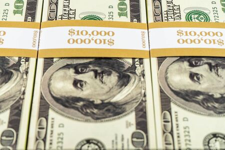 Prop Money Dollars.Full Print Old Style.100 Dollar Bills for Movies, Advertising, Play, Fake, Party, Supreme Spray, Gun Cannon, Fancy Dress, Magic Tricks, Casino Games Stock Photo