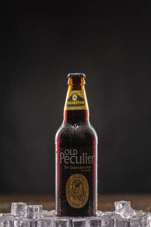 Old Peculier an old ale, is Theakstons most famous beer. UK, Bedford, December 31, 2020