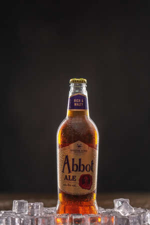 Abbot Ale a premium bitter, first brewed in the 1950s. UK, Bedford, December 31, 2020