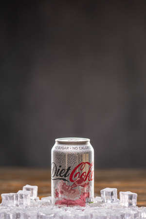 COCA COLA Diet, 330ml, Christmas Edition. UK,Bedford,January 4,2021