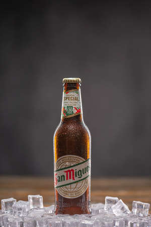 San Miguel Beer refers to San Miguel Pale Pilsen, a Filipino pale lager. UK,Bedford,January 4,2021 新闻类图片