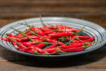 Fresh Red Birds Eye Chilli in a plate on a wooden table 免版税图像
