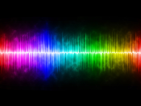 soundwave: Diffusely Rainbow Soundwave with Black Background