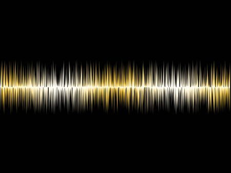 soundwave: Gold Silver Soundwave with Black Background