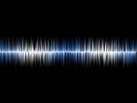 soundwave: Blue Silver Soundwave with Black Background