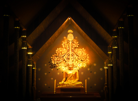 Golden Buddha in the night of dark frame, Focus on golden statue of center picture, Most famous public place Stock Photo