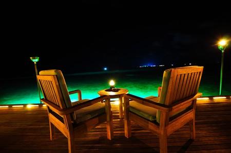 villas: Luxury Table, Maldives Stock Photo
