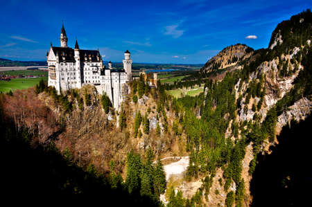 turrets: Neuschwanstein castle of Fussen, Germany