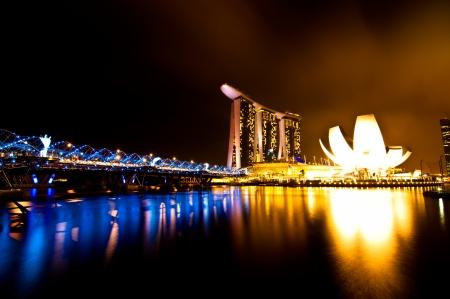 marina bay sand: Marina bay view at night time, Singapore Editorial