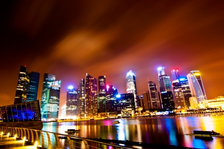 A group of colorful building at Marina bay, Singapore Stock Photo