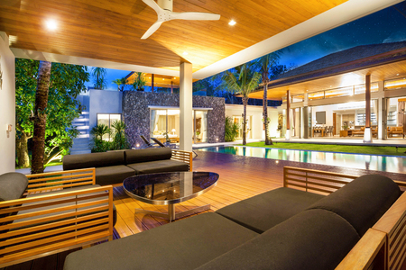 Interior and exterior design of pool villa which features living area, greenery garden, pavilion