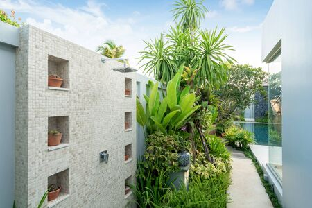 exterior outdoor shower in the house in the garden