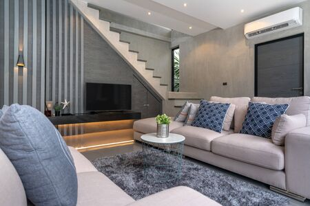 interior home design in living room in the loft house Фото со стока