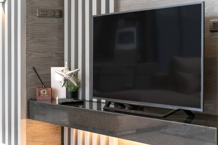 television in the living room of the loft house