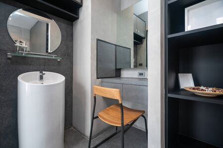 Luxury bathroom features basin in the house Фото со стока