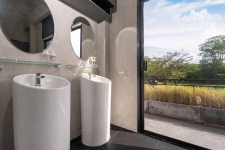 Luxury bathroom features basin, toilet in the house or home building