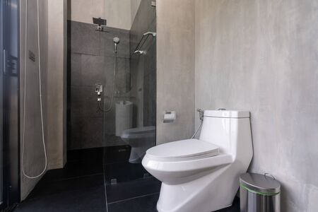 interior real bathroom features basin, toilet bowl in the house Фото со стока