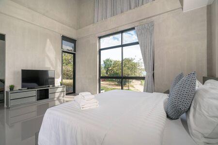 home interior design in bedroom of the loft house Фото со стока