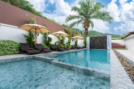 Outdoor swimming pool and pool terrace