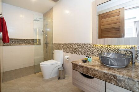 Sink with top granite, toilet and shower in a house Фото со стока