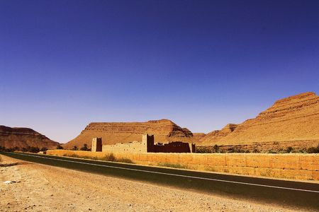 erg: road to the end of the world with the direction of the Sahara desert