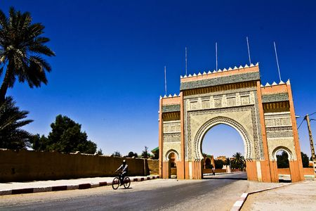 Erfoud the door of the desert, is the last town before the desert with his big gate at the entrance photo
