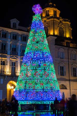 castello: Christmas Tree in Castello Square in Turin, Italy