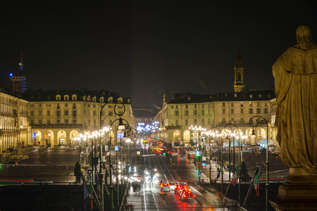 vittorio: Night view of Vittorio Square from above in Turin, Italy