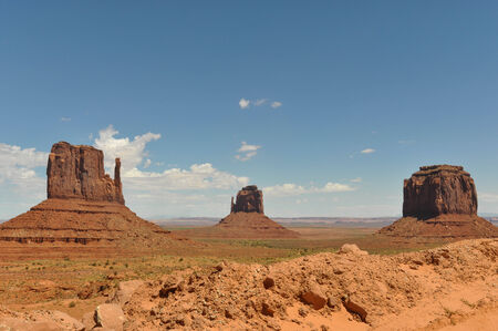 stratified: Monument Valley panorama showing the Mittens, Utah Stock Photo