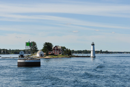 The Rock Island Lighthouse on the Saint Lawrence River Stock Photo