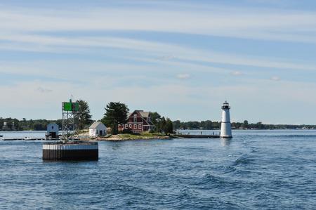 bird s house: The Rock Island Lighthouse on the Saint Lawrence River Stock Photo