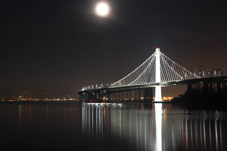 span: The moon and the bridge. The Bay Bridge connecting San Francisco and Oakland