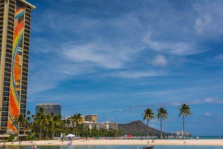 Oahu: Beach in Waikiki, Oahu, Hawaii Stock Photo