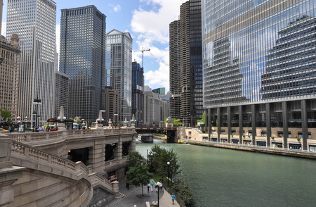 illinois river: Chicago, Illinois, USA-August 13.2013: View of the skyscrapers along the Chicago River Editorial