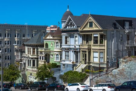 victorian architecture: Victorian houses in San Francisco Editorial