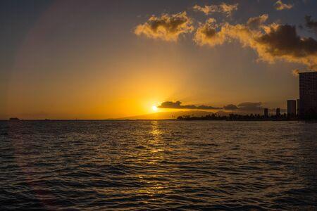 Oahu: Sunset in Waikiki, Oahu, Hawaii Stock Photo