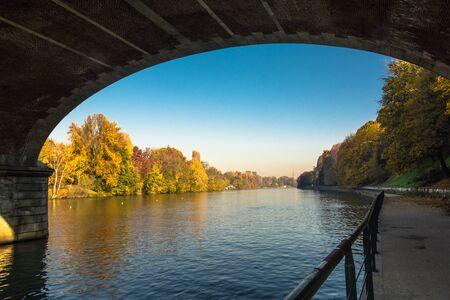 riverside tree: The Po River through the bridge in Turin, Italy