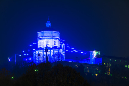 blue lights: Blue Lights on Monte dei Cappuccini in Turin, Italy