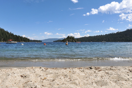 fannette: Tahoe Lake view from the sand beach, California Stock Photo