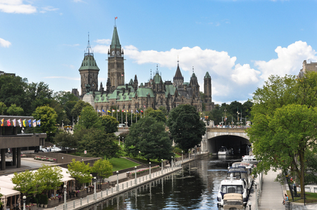 rideau canal: Parliament Hill in Ottawa, Canada Editorial