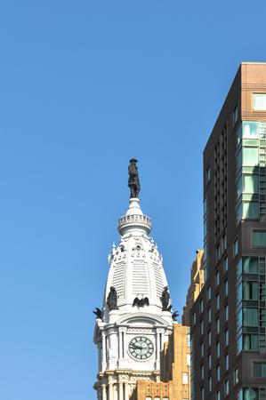 The statue atop City Hall Tower in Philadelphia, Pennsylvania