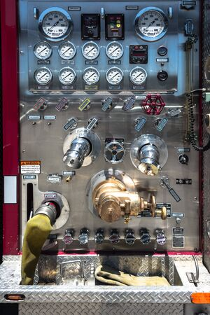 panel: View of a Firetruck control panel