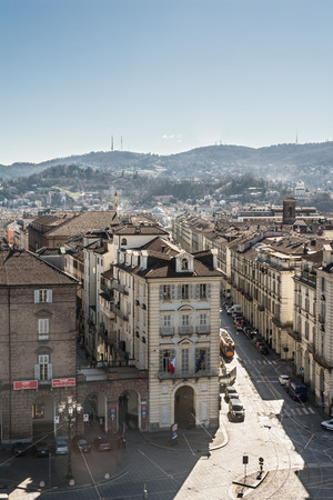 via: Aerial view of via Po in Turin, Italy Editorial