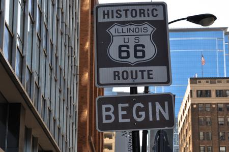 begin: Begin Route 66 sign, Chicago Editorial