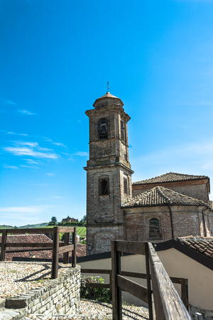 bell tower: Bell Tower in Barbaresco, Italy Editorial