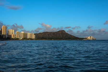 diamond head: Diamond Head from Waikiki, Oahu, Hawaii