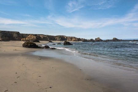 foreshore: Sand beach along the coast of Fort Bragg, California Stock Photo